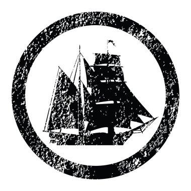 Rubber stamp with brigantine