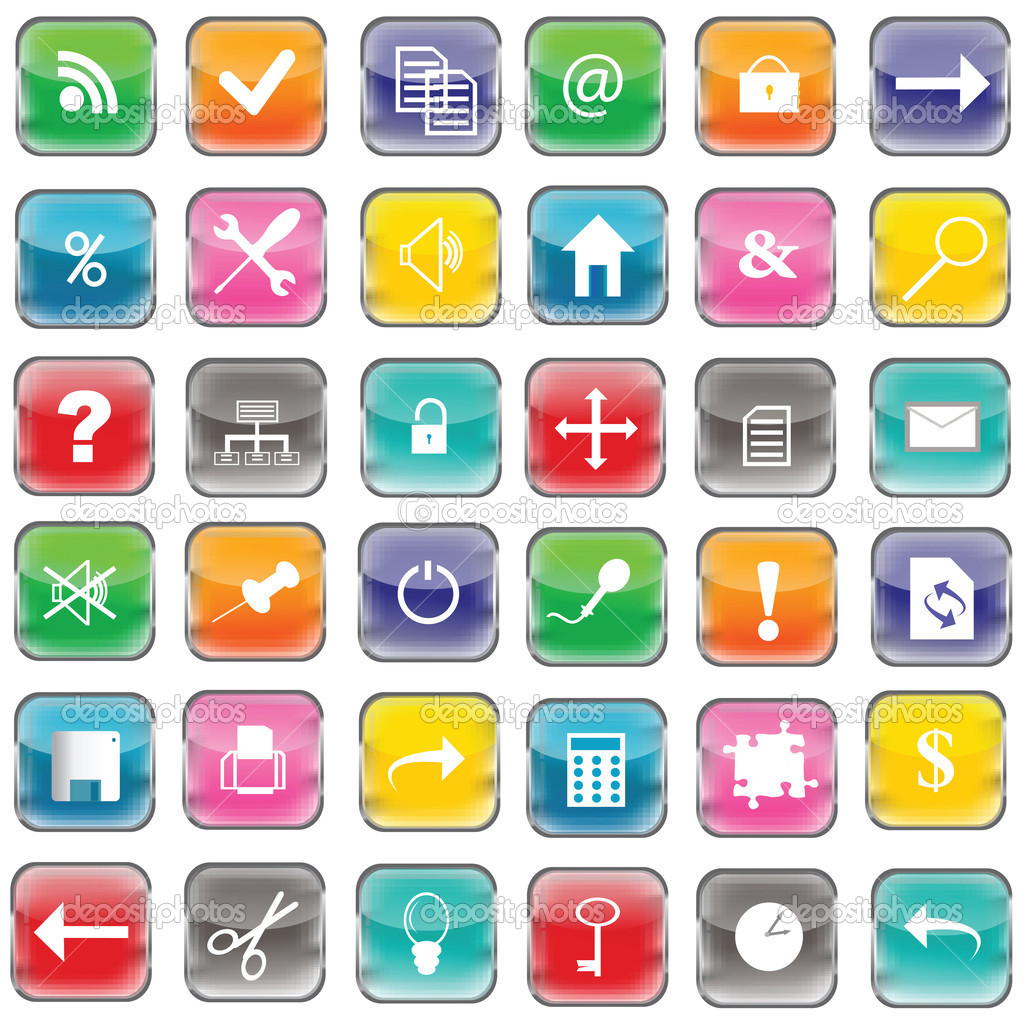 Colored web buttons with icons