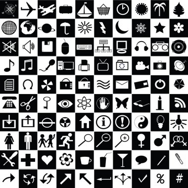 Black and white web icons