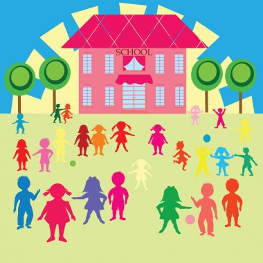 Clip-art with children and school