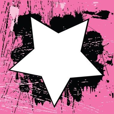 Grunge pink background with star