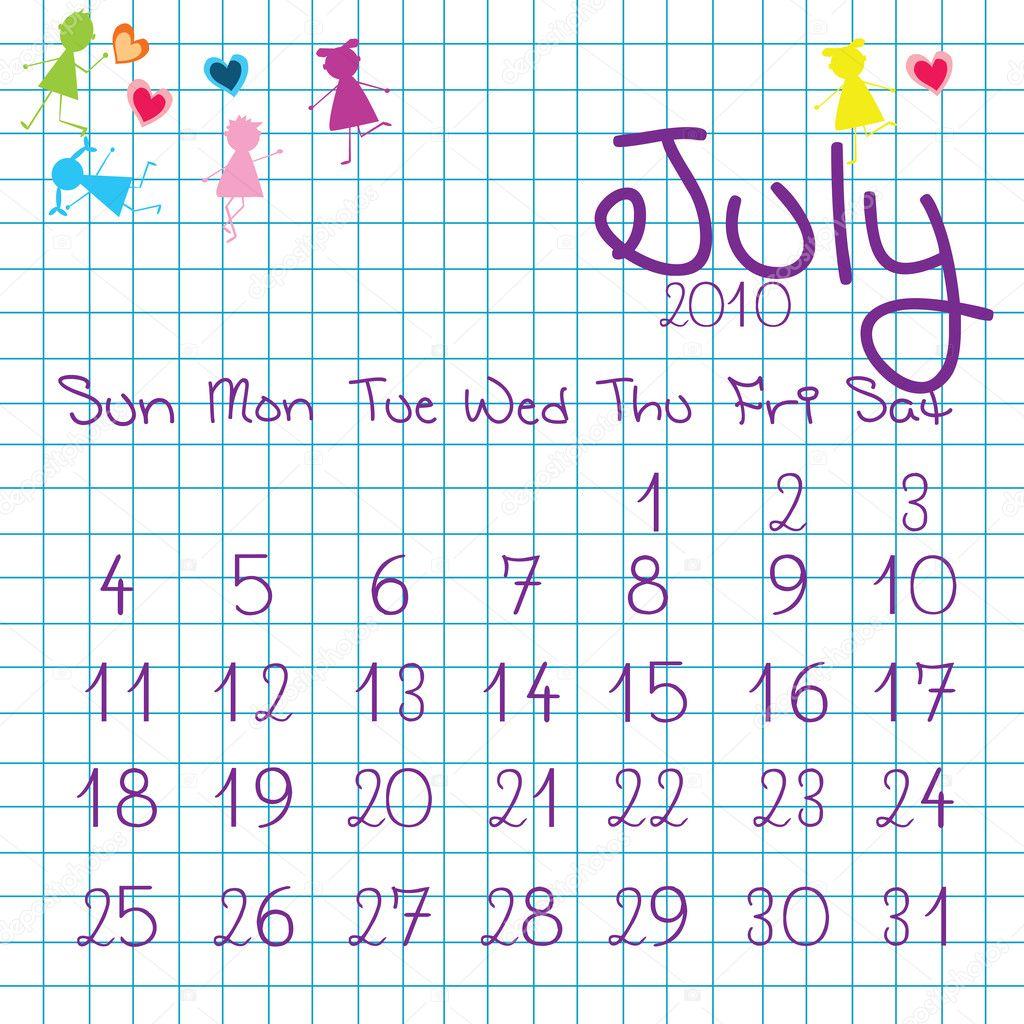 2010 július naptár július 2010 naptár — Stock Fotó © hibrida13 #3321581 2010 július naptár