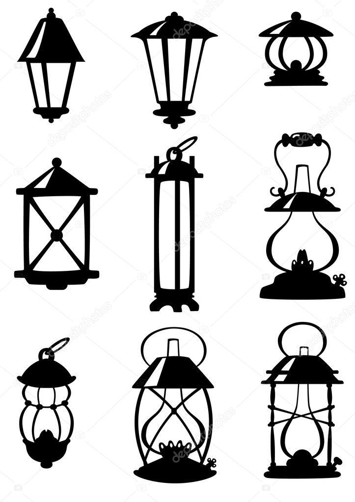 Nove lampade antiche — Vettoriali Stock © gaston #3159743