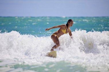Girl in a yellow bikini surfing