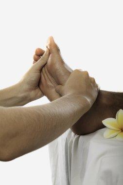 Healing touch of a masseuse's hands