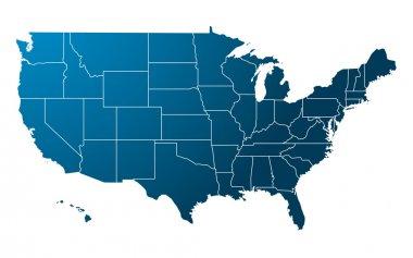 Blue USA map vector stock vector