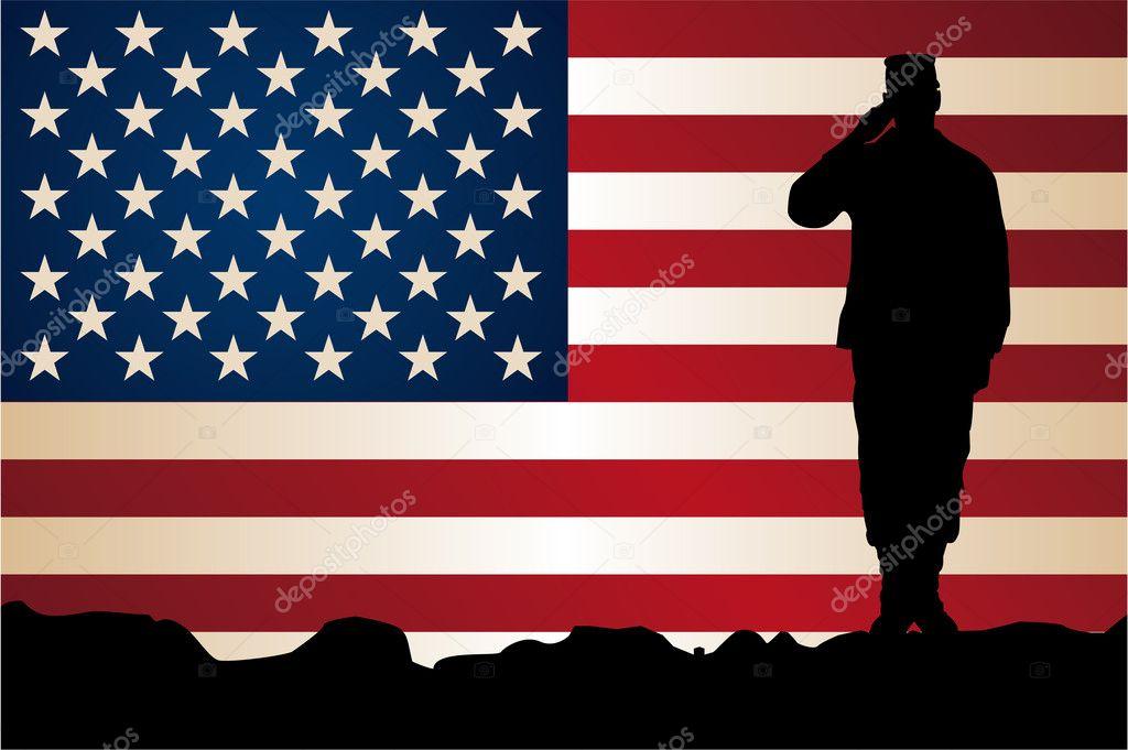 soldado em frente da bandeira americana vetor de stock iznogood
