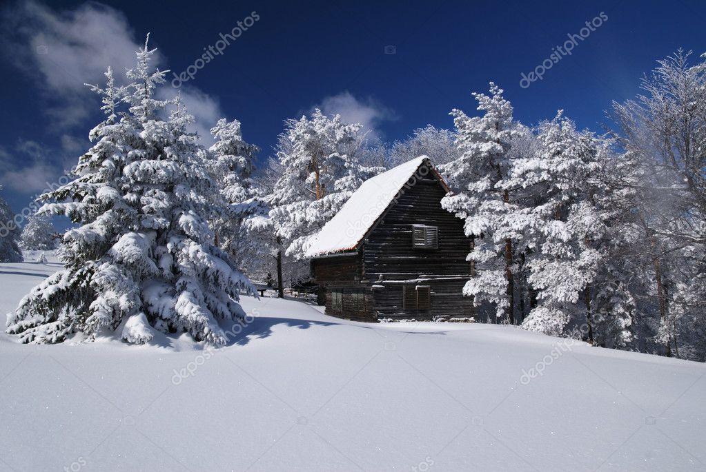 Casa di montagna nella neve foto stock adam r 2946025 for Piani casa montagna colorado