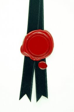 Red wax seal black ribbon