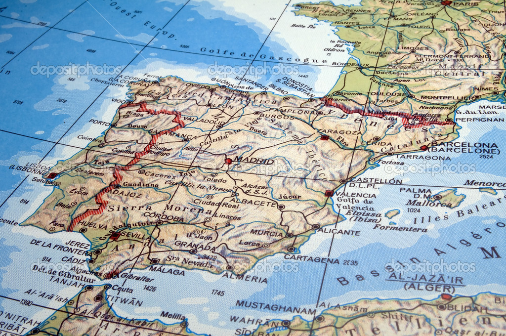 Spain And Portugal Map Stock Photo FERNG - Map of portugal spain