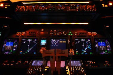 Instrument panel of a modern airliner at night (Boeing 737-800 Next Generation). stock vector