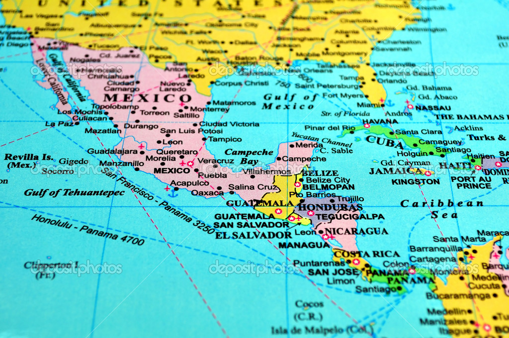 Central America Map Stock Photo FERNG - Central america map