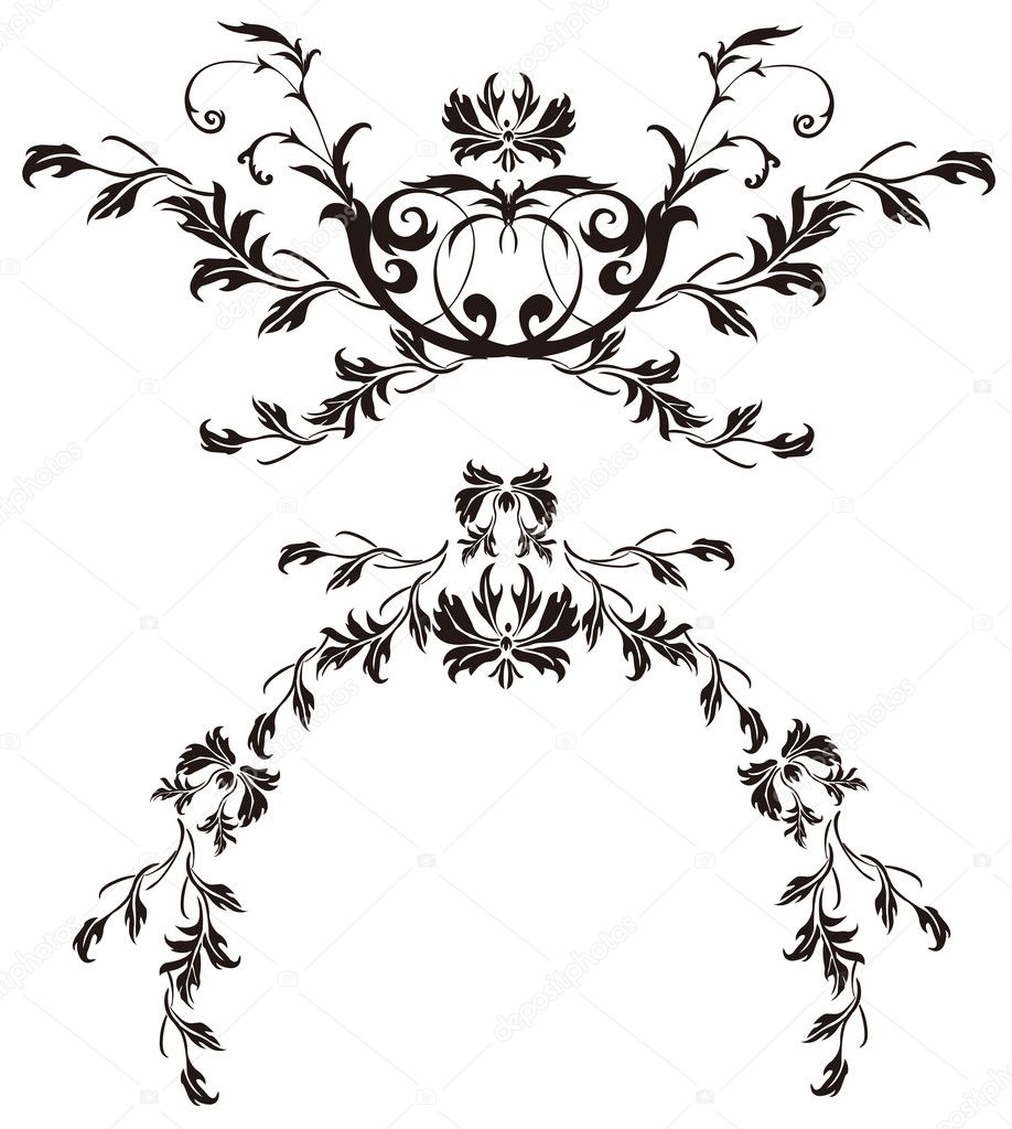 Black Flower Pattern Silhouette Stock Illustration: Stock Photo © Realrocking #3451603