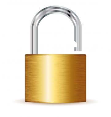 Open padlock security concept