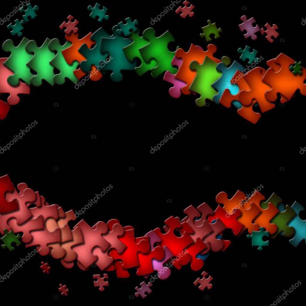 Rahmen aus bunten Puzzle-Elemente — Stockfoto © carenas1 #2931954
