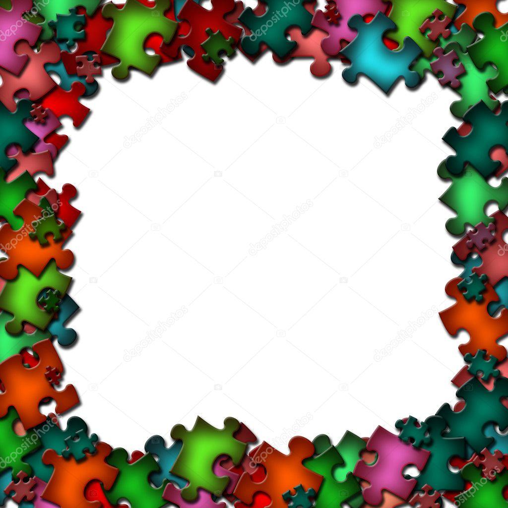 Rahmen aus bunten Puzzle-Elemente — Stockfoto © carenas1 #2931963