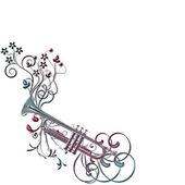 Musical instument trumpet, flowers