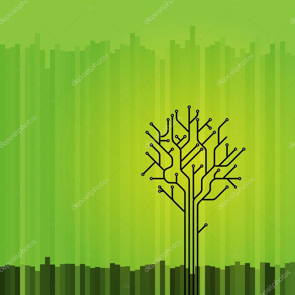 Circuit board tree on green