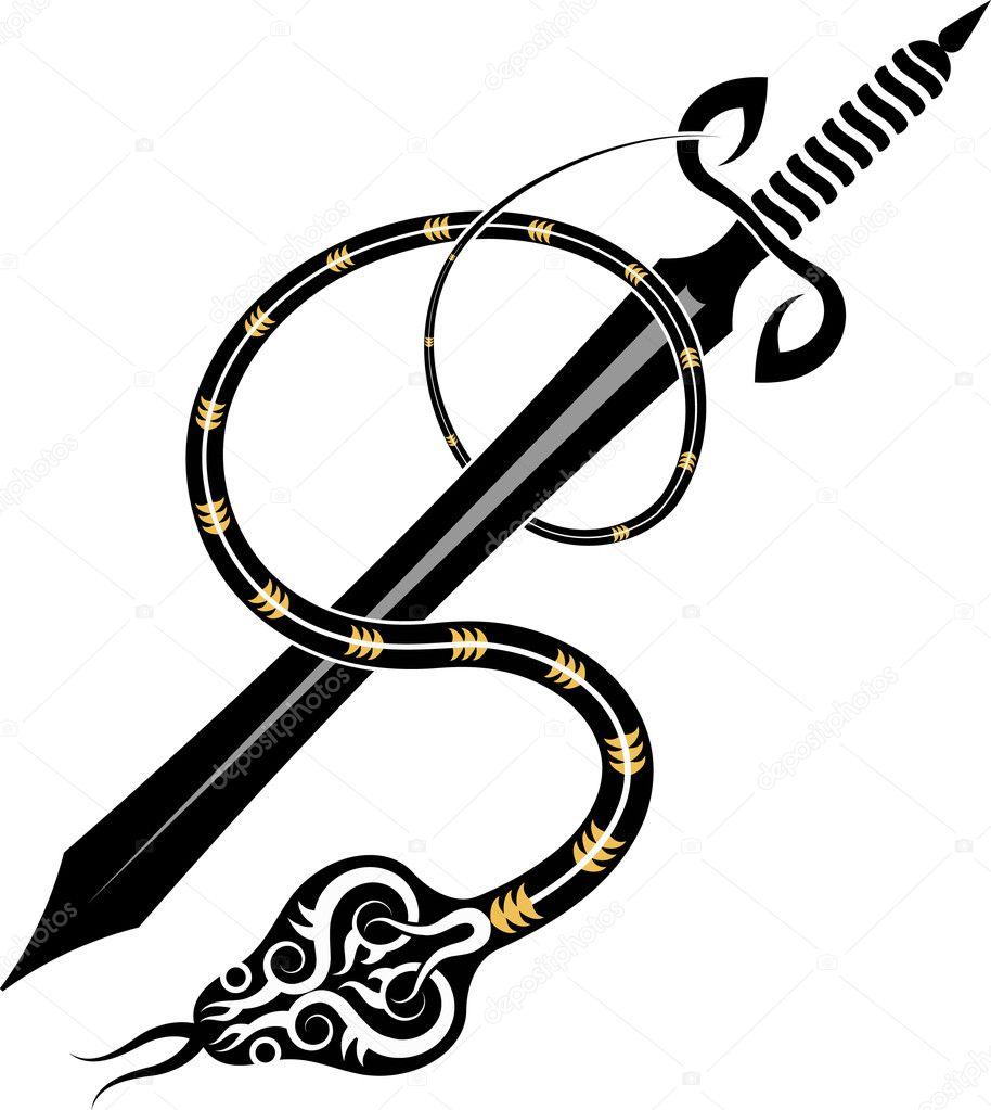 Tatuaż Miecz I Wąż Grafika Wektorowa Ajayshrivastava