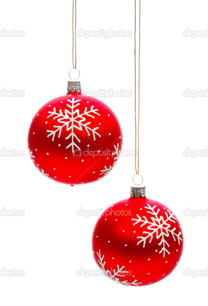 Two snowflake christmas baubles stock photo for White christmas baubles