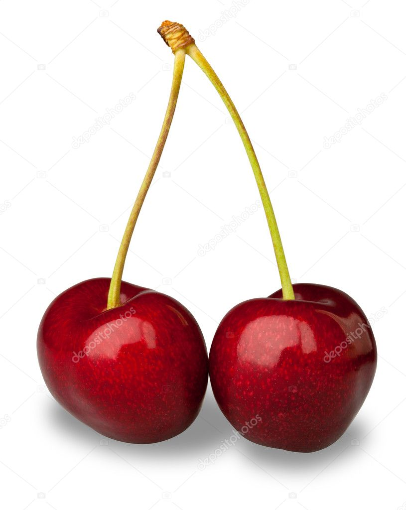 Pair fresh cherries on white with clipping path