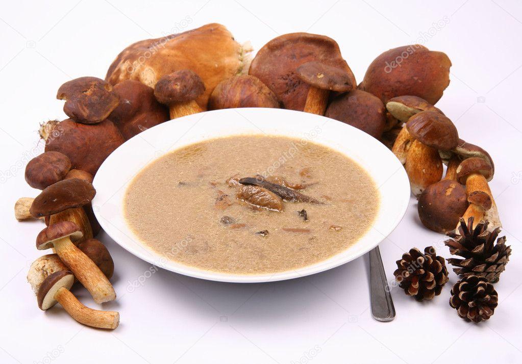 Mushroom soup and mushrooms