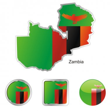 Zambia in map and internet buttons shape