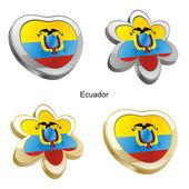 Fotografie Ecuador flag in heart and flower shape