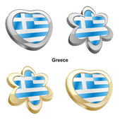 Greece flag in heart and flower shape