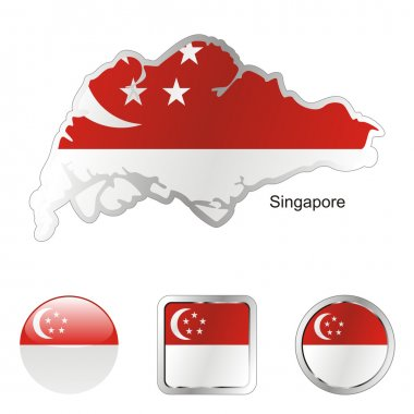 Singapore in map and internet buttons