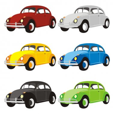 Solated funny colored cars