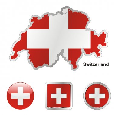 Switzerland in map and web buttons shape