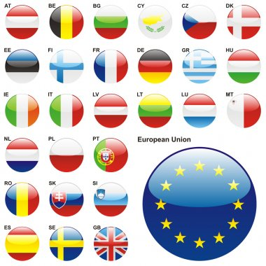 Fully editable vector illustration of all twentyseven Member States of the European Union in web button shape stock vector