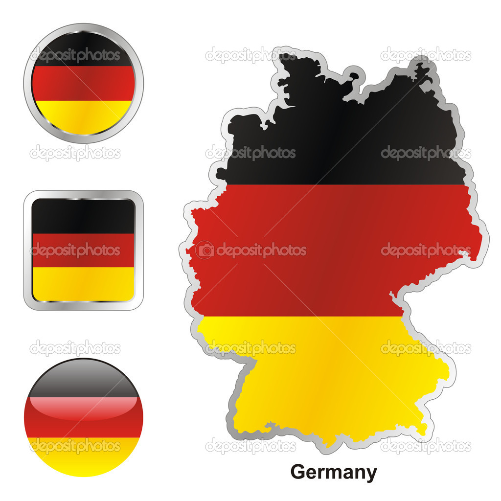 Germany in map and web buttons shapes