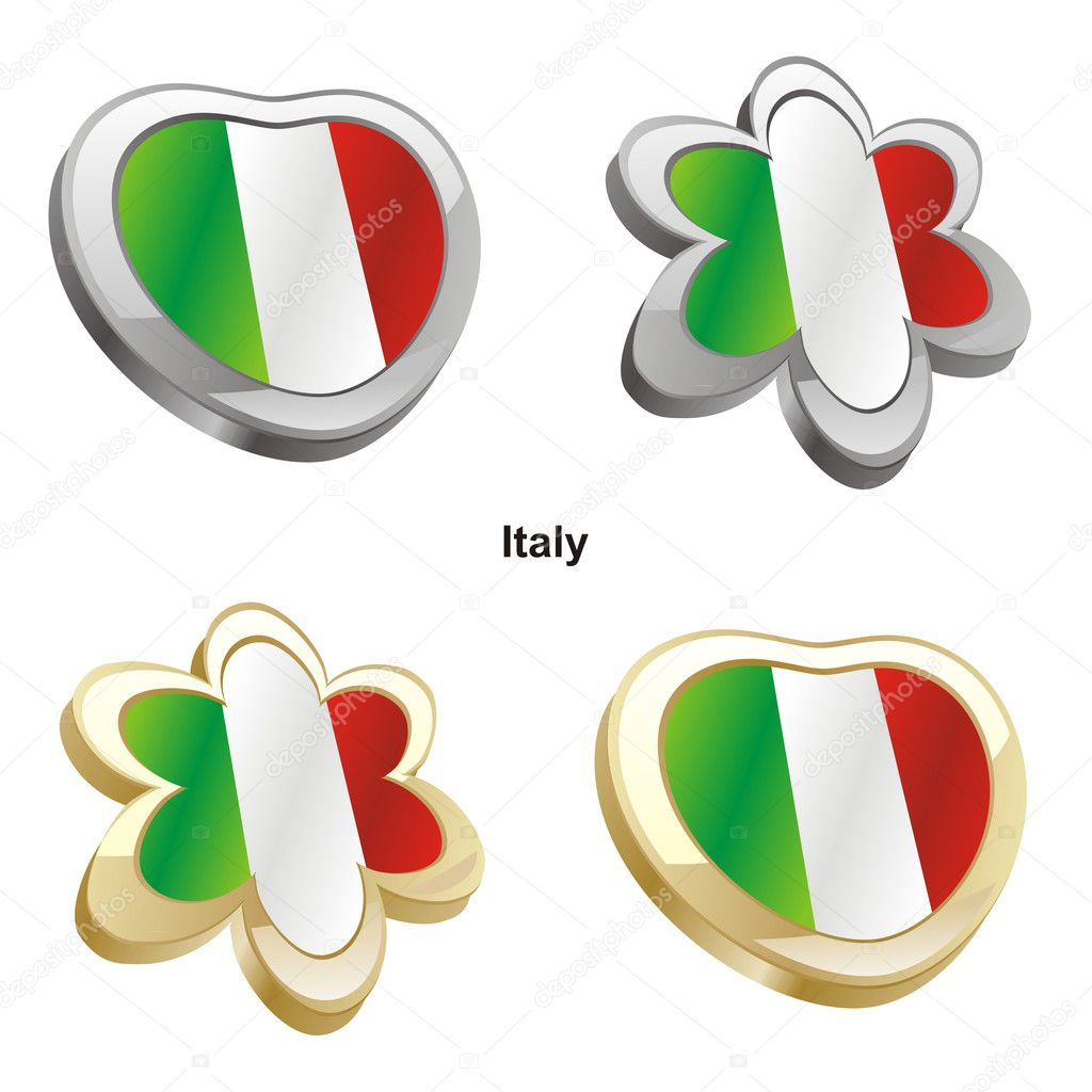 Italy flag in heart and flower shape