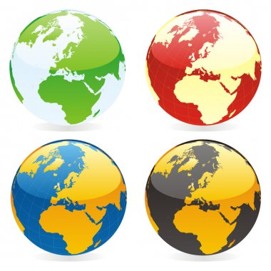 Vector isolated world globes