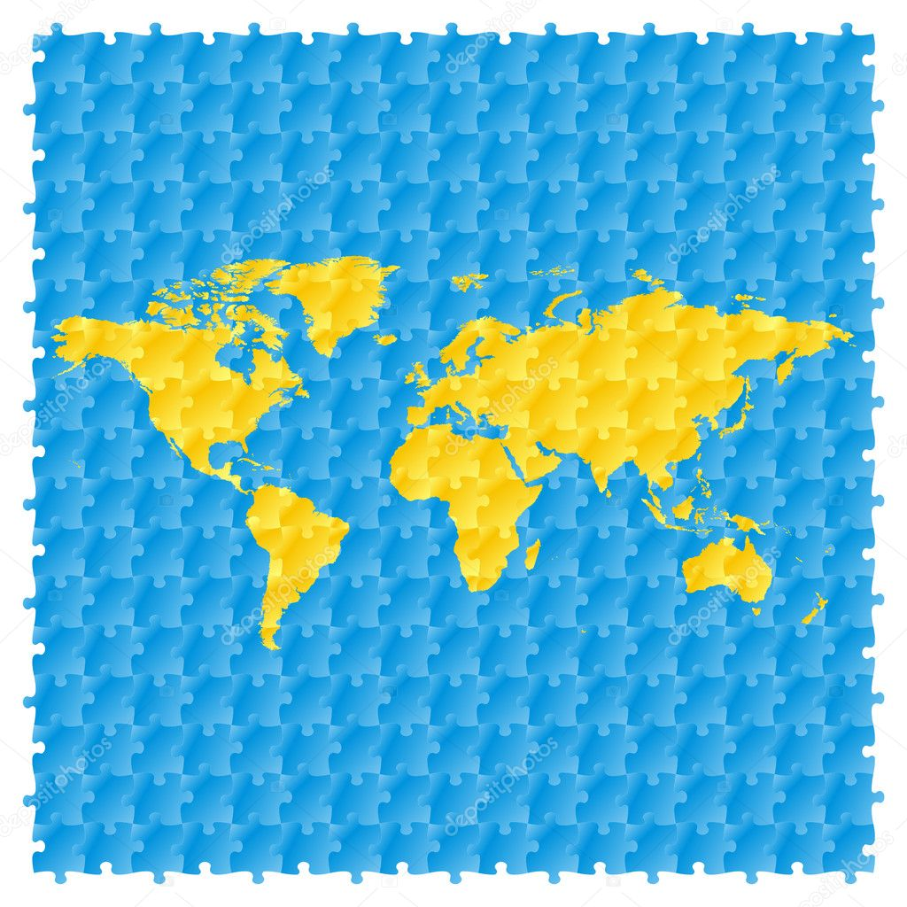 Vector world map with puzzle pattern stock vector vector world map with puzzle pattern stock vector gumiabroncs Images