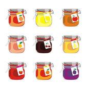 Fotografia set vasetti di marmellata isolato