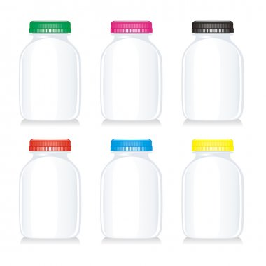 Isolated milk glass bottles