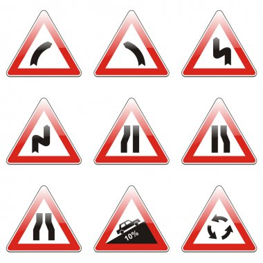 Isolated european road signs