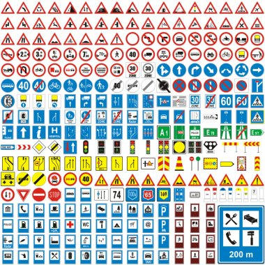 Fully editable vector illustration of isolated european road signs stock vector