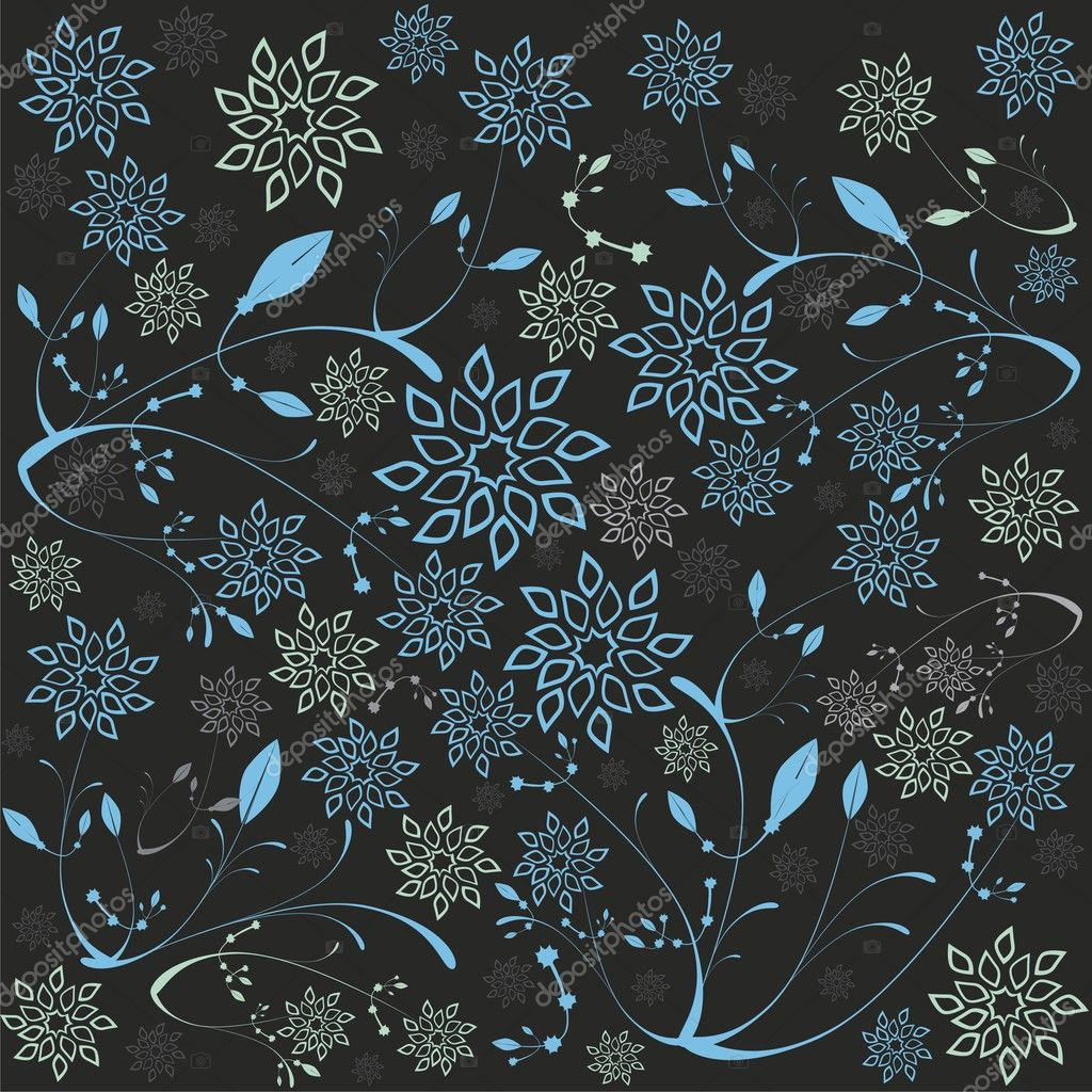 Fully editable vector illustration of stylized ice flowers and leafs with details ready to use stock vector