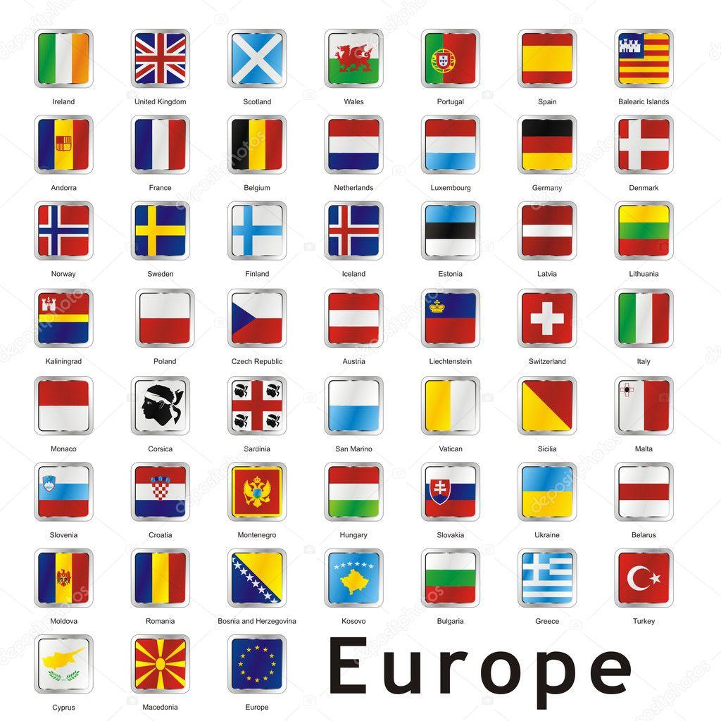 Isolated european flags