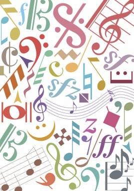 Colored music notes and signs