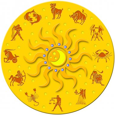 Golden circle with signs of the zodiac