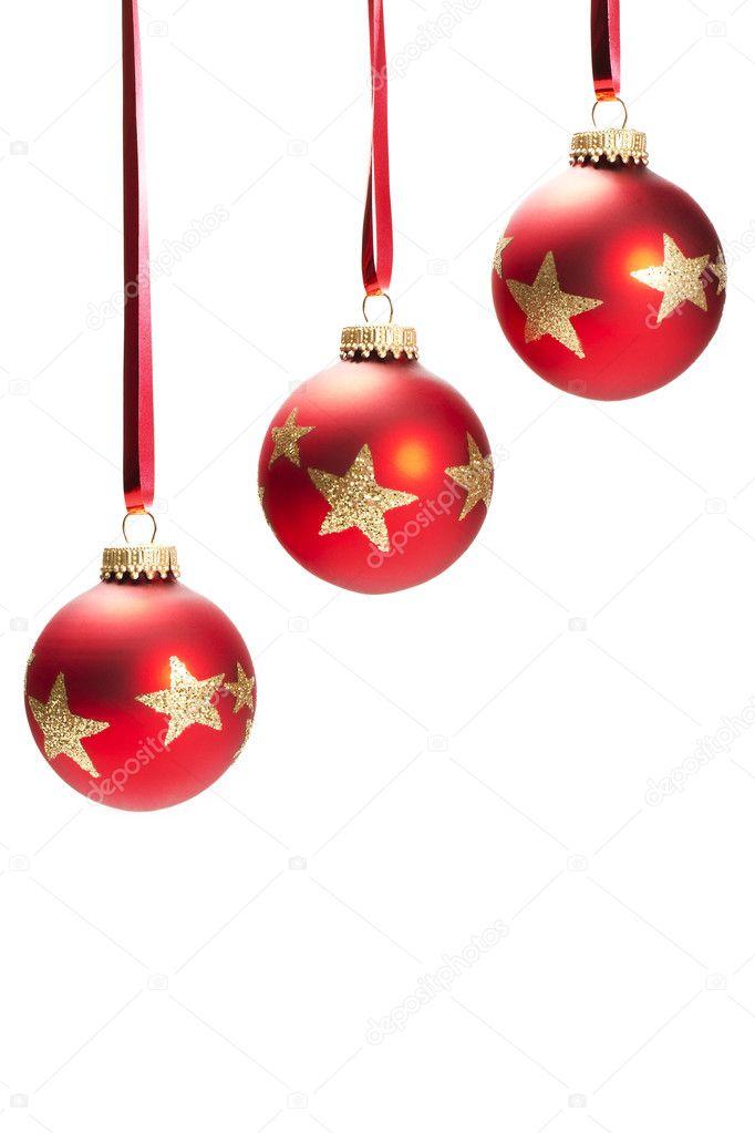 Rote Sitzsaecke In Schwarz Weissem : Drei h?ngende matte rote weihnachtskugel mit goldenen