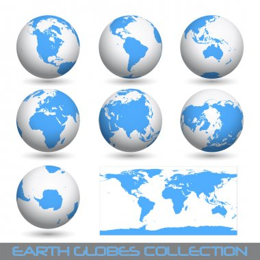 Earth globes, white-blue