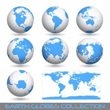 Earth globes, white-blue