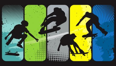 Silhouette skaters on an abstract grunge background stock vector