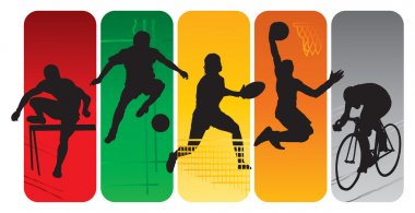 Sport silhouettes on an abstract background stock vector